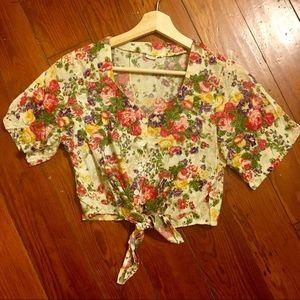 Vintage Rayon Floral Self Tie Button Crop Top S